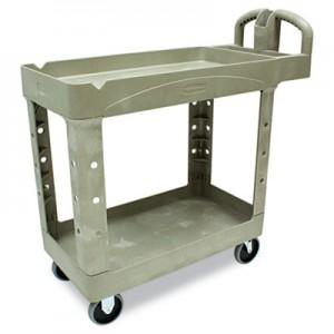 Rubbermaid 4500-88 HD 2-Shelf Utility Cart w/Lipped Shelf (Small) - Beige