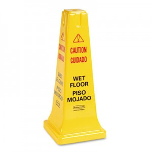 Rubbermaid 6277-77 Four-Sided Wet Floor Safety Cone - Yellow