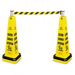 Rubbermaid 6287 Portable Barricade System, Plastic - Yellow