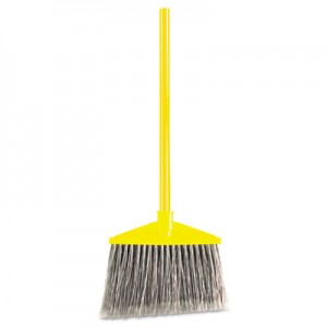 "Rubbermaid 6375 Brute Angled Large Broom 46-7/8"" Metal Handle - Yellow/Gray"