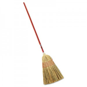 "Rubbermaid 6381 Standard Corn-Fill Broom, 38"" Handle - Red"