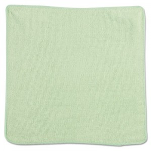 "Rubbermaid 1820578 Microfiber Cleaning Cloths 12"", 24/Case - Green"