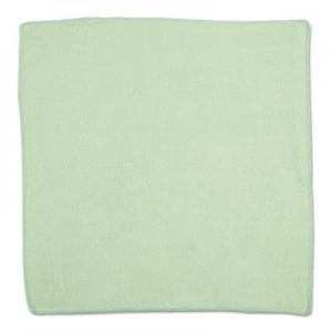 "Rubbermaid 1820582 Microfiber Cleaning Cloths 16"", 24/Case - Green"