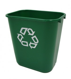 Rubbermaid 2956-06 Deskside Recycling Containers 28 Quart, 12/Case - Green
