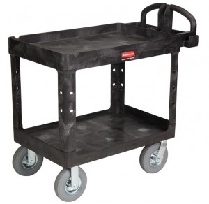Rubbermaid 4520-10 Heavy Duty 2-Shelf Utility Cart with Pneumatic Casters